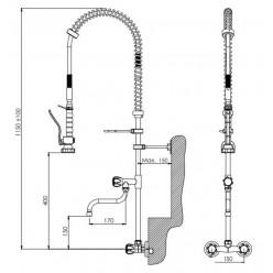 LİVA Duvardan Çıkışlı Çift Su Girişli Ara Musluklu Duş Sprey Ünitesi